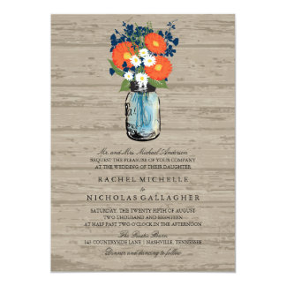 Madera azul y anaranjada el | del tarro de albañil invitaciones personales