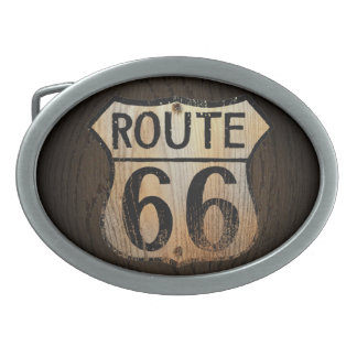 Madera BG - hebilla del cinturón de la ruta 66 Hebillas Cinturón Ovales