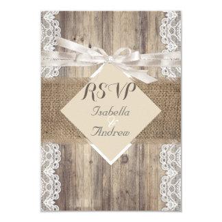Madera blanca beige RSVP del cordón del boda Invitación 8,9 X 12,7 Cm