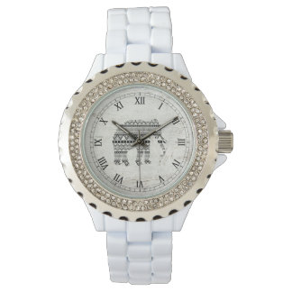 Madera blanca del vintage del negro tribal azteca relojes de pulsera