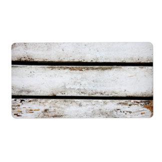 Madera blanca vieja etiquetas de envío