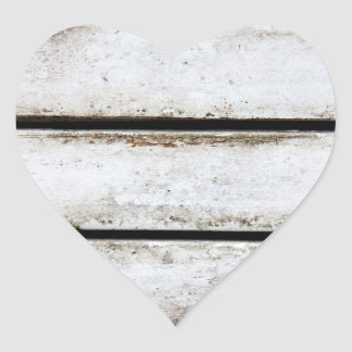 Madera blanca vieja pegatina en forma de corazón