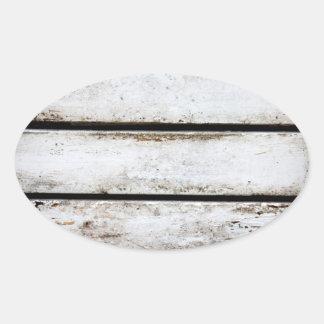 Madera blanca vieja pegatina ovalada