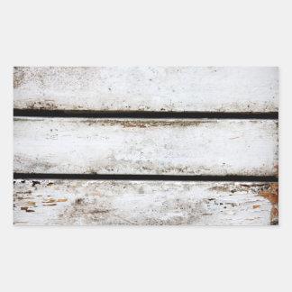 Madera blanca vieja pegatina rectangular