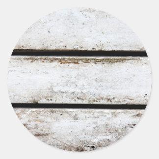 Madera blanca vieja pegatina redonda