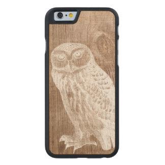 Madera botánica del pájaro del búho del vintage funda de iPhone 6 carved® slim de arce