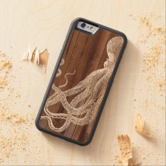 Madera botánica del pulpo del vintage funda de iPhone 6 bumper arce