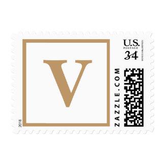 Madera Brown de los monogramas de la postal del Sellos Postales