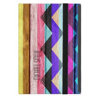 Madera colorida #3 del vintage de la raya de Chevr iPad Mini Cárcasas