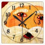 Madera contrachapada Santa del vintage Reloj De Pared