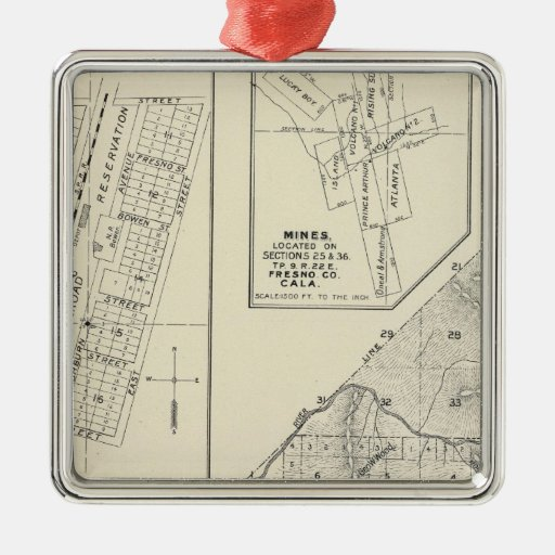 Madera County, California Square Metal Christmas Ornament