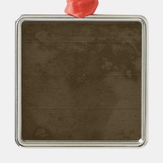 Madera dañada marrón clara adorno navideño cuadrado de metal