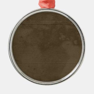 Madera dañada marrón clara adorno navideño redondo de metal