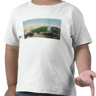Madera de construcción del cargamento en escena de camiseta
