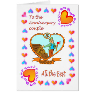 Madera de la tarjeta 5 del aniversario