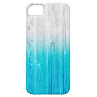 madera de madera de descoloramiento del azul del funda para iPhone SE/5/5s