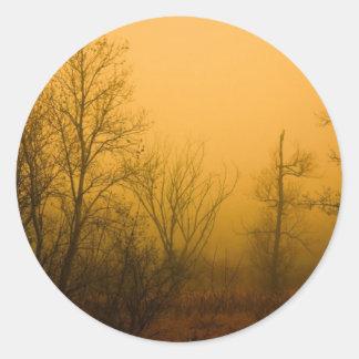 Madera de niebla pegatinas redondas