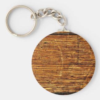 Madera de roble vieja llavero redondo tipo pin