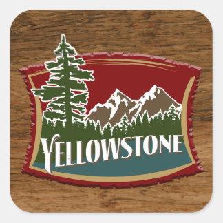 Madera de Yellowstone Pegatina Cuadrada
