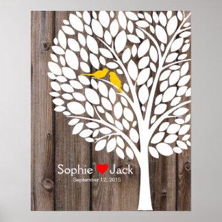 madera del amarillo del árbol del libro de visitas póster