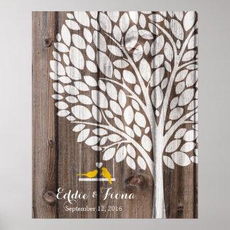madera del amarillo del pájaro del árbol del libro póster