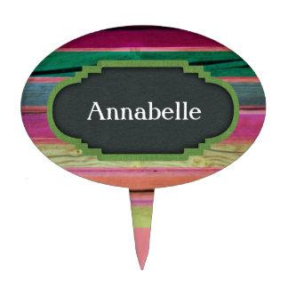 Madera del arco iris con la personalización de la decoraciones para tartas