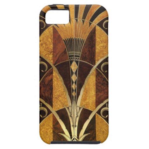 Madera del Burl del art déco iPhone 5 Case-Mate Protectores