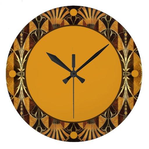 Madera del Burl del art déco Reloj De Pared