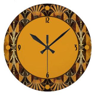 Madera del Burl del art déco Reloj Redondo Grande