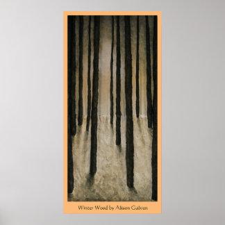 Madera del invierno del artista fino Alison Galvan Póster