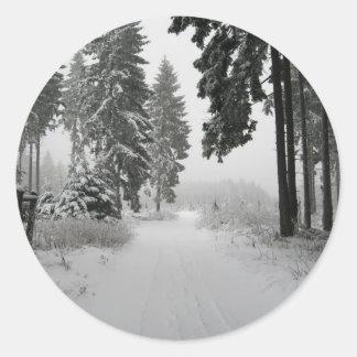 madera del invierno pegatina redonda