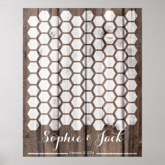madera del libro de visitas del boda de la firma póster