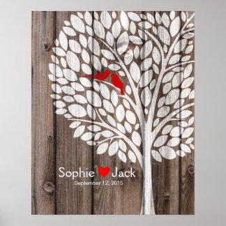madera del rojo del árbol del libro de visitas del póster