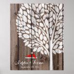 madera del rojo del pájaro del árbol del libro de póster