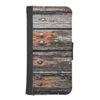 Madera del vintage fundas billetera para teléfono