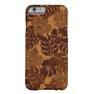 Madera del vintage hawaiano del hibisco de la funda de iPhone 6 barely there