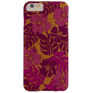 Madera del vintage hawaiano del hibisco de la funda para iPhone 6 plus barely there