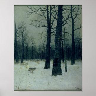 Madera en el invierno, 1885 póster