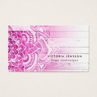 Madera floral de la yoga de la alheña de la tarjetas de visita