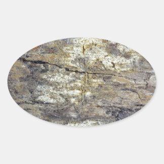 Madera fósil pegatina ovalada