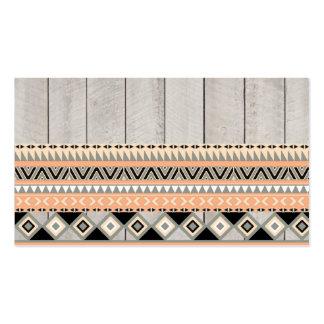 Madera gris tribal azteca abstracta coralina de lo plantillas de tarjetas personales