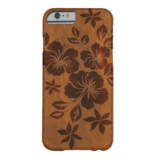 Madera hawaiana del hibisco de Lilikoi falsa Funda Para iPhone 6 Barely There
