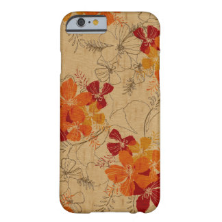 Madera hawaiana del jardín de medianoche falsa funda para iPhone 6 barely there