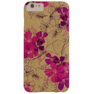 Madera hawaiana del jardín de medianoche falsa funda de iPhone 6 plus barely there