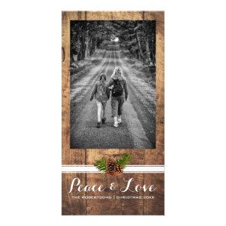 Madera llena Pinecones de la foto del navidad del Tarjeta Fotográfica