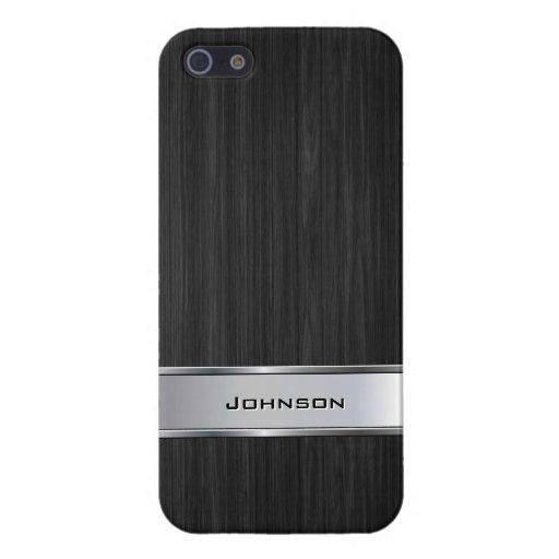 Madera negra elegante con la etiqueta el   del met iPhone 5 protector