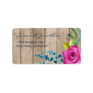 Madera pintada floral rústica etiqueta de dirección