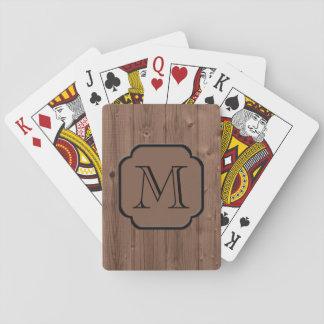 Madera pintada moca fotorrealista, con monograma baraja de póquer