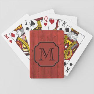 Madera pintada rojo fotorrealista, con monograma baraja de cartas