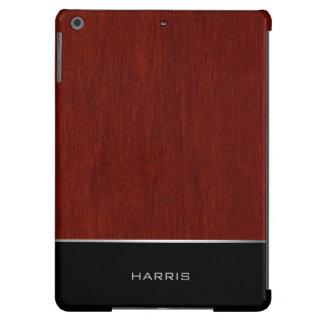 madera pulida con la raya negra y lugar para el funda para iPad air